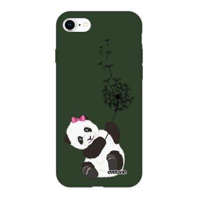 Coque iPhone 7/8/ iPhone SE 2020 Silicone Liquide Douce vert kaki Panda Pissenlit Ecriture Tendance et Design Evetane