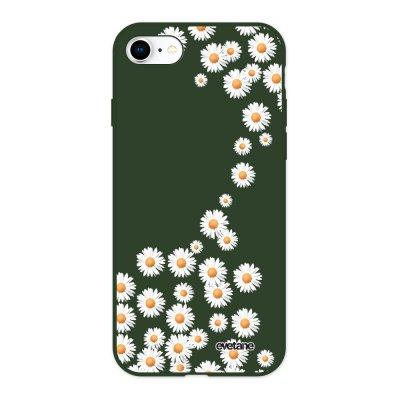 Coque iPhone 7/8/ iPhone SE 2020 Silicone Liquide Douce vert kaki Marguerite Ecriture Tendance et Design Evetane