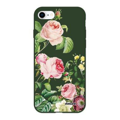 Coque iPhone 7/8/ iPhone SE 2020 Silicone Liquide Douce vert kaki Motifs Roses Ecriture Tendance et Design Evetane