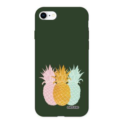 Coque iPhone 7/8/ iPhone SE 2020 Silicone Liquide Douce vert kaki Ananas trio Ecriture Tendance et Design Evetane
