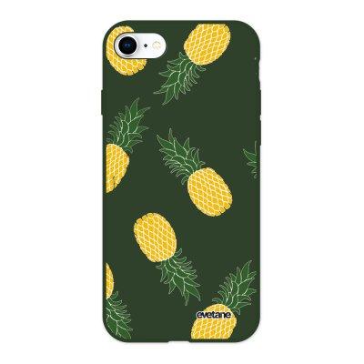 Coque iPhone 7/8/ iPhone SE 2020 Silicone Liquide Douce vert kaki Ananas Motifs Ecriture Tendance et Design Evetane