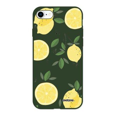 Coque iPhone 7/8/ iPhone SE 2020 Silicone Liquide Douce vert kaki Citrons Ecriture Tendance et Design Evetane