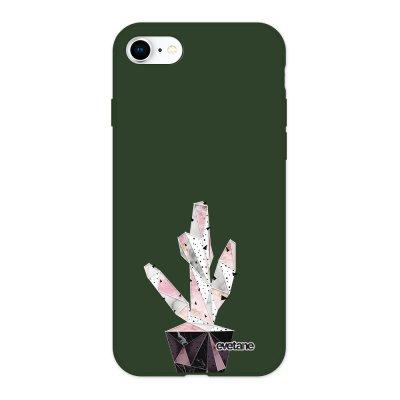 Coque iPhone 7/8/ iPhone SE 2020 Silicone Liquide Douce vert kaki Cactus Geometrique Marbre Ecriture Tendance et Design Evetane