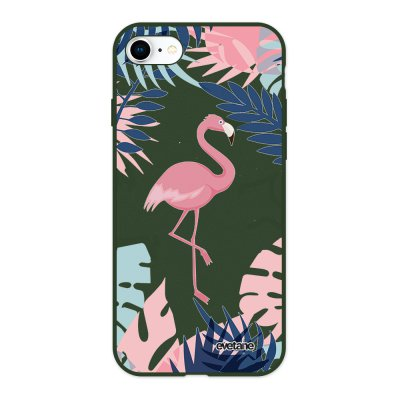 Coque iPhone 7/8/ iPhone SE 2020 Silicone Liquide Douce vert kaki Flamant Tropical Evetane.