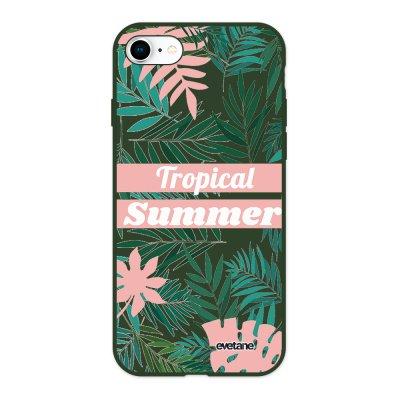 Coque iPhone 7/8/ iPhone SE 2020 Silicone Liquide Douce vert kaki Tropical Summer Pastel Ecriture Tendance et Design Evetane