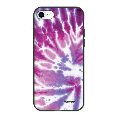 Coque iPhone 7/8/ iPhone SE 2020 Silicone Liquide Douce vert kaki Tie and Dye Violet Evetane.