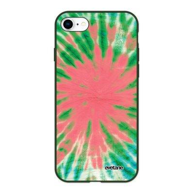 Coque iPhone 7/8/ iPhone SE 2020 Silicone Liquide Douce vert kaki Tie and Dye Corail Evetane.
