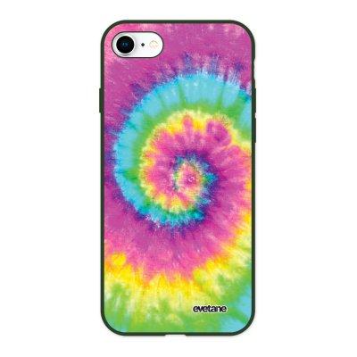 Coque iPhone 7/8/ iPhone SE 2020 Silicone Liquide Douce vert kaki Tie and Dye Rainbow Ecriture Tendance et Design Evetane
