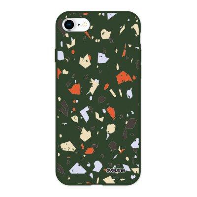 Coque iPhone 7/8/ iPhone SE 2020 Silicone Liquide Douce vert kaki Terrazzo Blanc Ecriture Tendance et Design Evetane