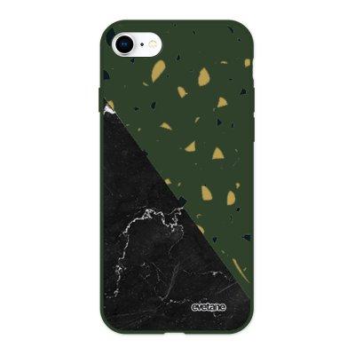 Coque iPhone 7/8/ iPhone SE 2020 Silicone Liquide Douce vert kaki Terrazzo marbre Noir Ecriture Tendance et Design Evetane