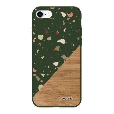 Coque iPhone 7/8/ iPhone SE 2020 Silicone Liquide Douce vert kaki Terrazzo bois Ecriture Tendance et Design Evetane