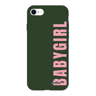 Coque iPhone 7/8/ iPhone SE 2020 Silicone Liquide Douce vert kaki Baby Girl Ecriture Tendance et Design Evetane