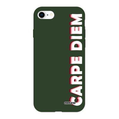 Coque iPhone 7/8/ iPhone SE 2020 Silicone Liquide Douce vert kaki Carpe Diem New Ecriture Tendance et Design Evetane