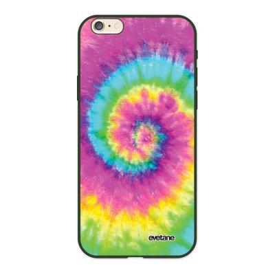 Coque iPhone 6/6S Silicone Liquide Douce vert kaki Tie and Dye Rainbow Ecriture Tendance et Design Evetane