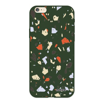 Coque iPhone 6/6S Silicone Liquide Douce vert kaki Terrazzo Blanc Ecriture Tendance et Design Evetane