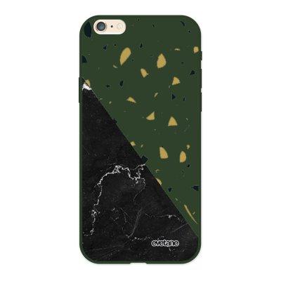 Coque iPhone 6/6S Silicone Liquide Douce vert kaki Terrazzo marbre Noir Ecriture Tendance et Design Evetane