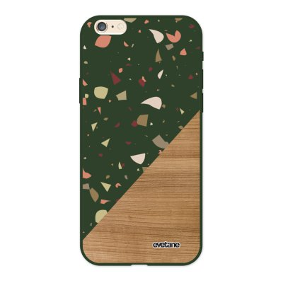 Coque iPhone 6/6S Silicone Liquide Douce vert kaki Terrazzo bois Ecriture Tendance et Design Evetane