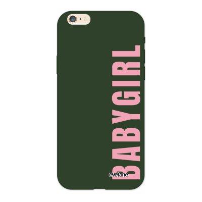Coque iPhone 6/6S Silicone Liquide Douce vert kaki Baby Girl Ecriture Tendance et Design Evetane