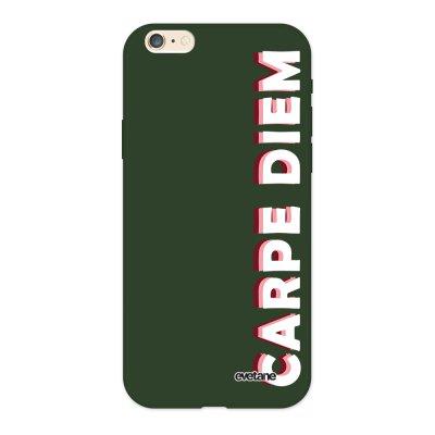 Coque iPhone 6/6S Silicone Liquide Douce vert kaki Carpe Diem New Ecriture Tendance et Design Evetane