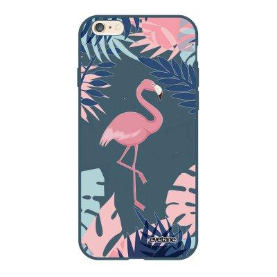 Coque iPhone 6/6S Silicone Liquide Douce bleu nuit Flamant Tropical Ecriture Tendance et Design Evetane
