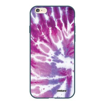 Coque iPhone 6/6S Silicone Liquide Douce bleu nuit Tie and Dye Violet Ecriture Tendance et Design Evetane