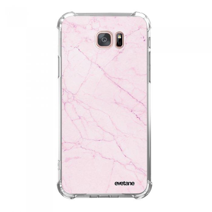 Coque Samsung Galaxy S7 Edge anti-choc souple angles renforcés transparente Marbre rose Evetane. - Coquediscount