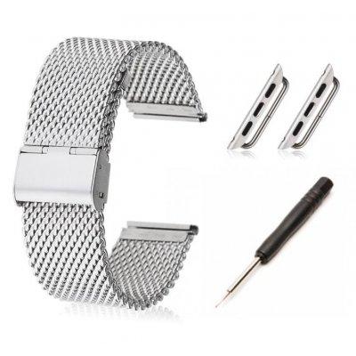Bracelet en acier + kit d'installation avec attaches pour Apple Watch 42mm