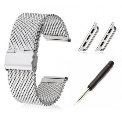Bracelet en acier + kit d'installation avec attaches pour Apple Watch 38mm