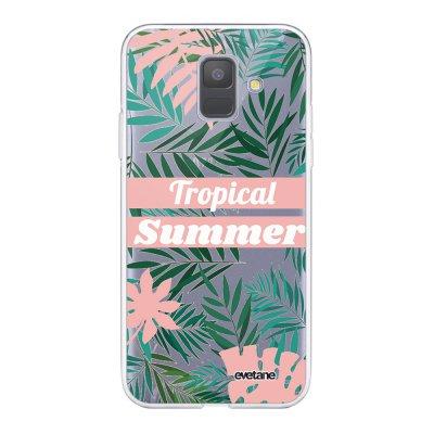 Coque Samsung Galaxy A6 2018 360 intégrale transparente Tropical Summer Pastel Ecriture Tendance Design Evetane.