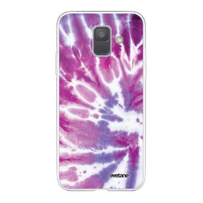 Coque Samsung Galaxy A6 2018 360 intégrale transparente Tie and Dye Violet Ecriture Tendance Design Evetane.