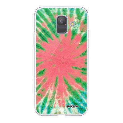 Coque Samsung Galaxy A6 2018 360 intégrale transparente Tie and Dye Corail Ecriture Tendance Design Evetane.