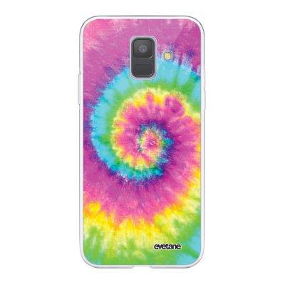Coque Samsung Galaxy A6 2018 360 intégrale transparente Tie and Dye Rainbow Ecriture Tendance Design Evetane.