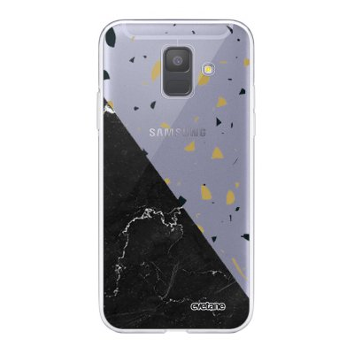 Coque Samsung Galaxy A6 2018 360 intégrale transparente Terrazzo marbre Noir Ecriture Tendance Design Evetane.
