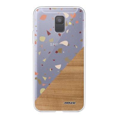 Coque Samsung Galaxy A6 2018 360 intégrale transparente Terrazzo bois Ecriture Tendance Design Evetane.