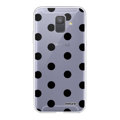 Coque Samsung Galaxy A6 2018 360 intégrale transparente Pois Noir Ecriture Tendance Design Evetane.