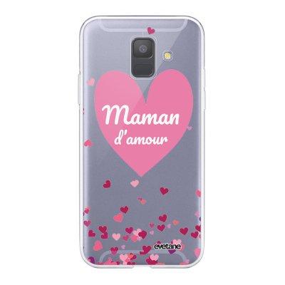 Coque Samsung Galaxy A6 2018 360 intégrale transparente Maman d'amour coeurs Ecriture Tendance Design Evetane.