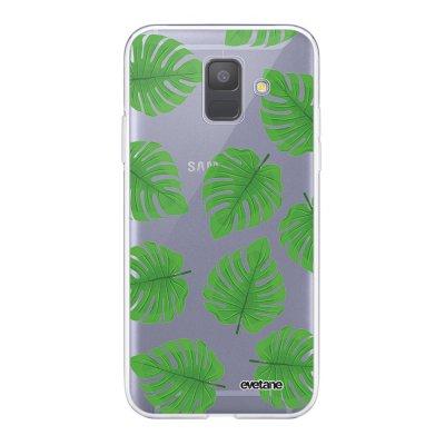 Coque Samsung Galaxy A6 2018 360 intégrale transparente Feuilles palmiers Ecriture Tendance Design Evetane.