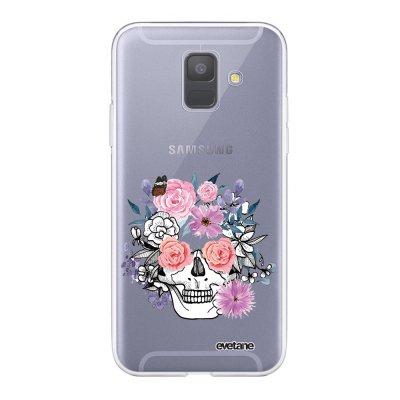 Coque Samsung Galaxy A6 2018 360 intégrale transparente Crâne floral Ecriture Tendance Design Evetane.