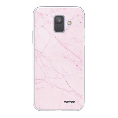 Coque Samsung Galaxy A6 2018 360 intégrale transparente Marbre rose Ecriture Tendance Design Evetane.