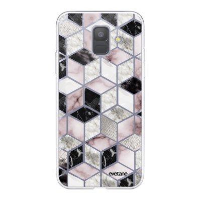 Coque Samsung Galaxy A6 2018 360 intégrale transparente Cubes Géométriques Ecriture Tendance Design Evetane.