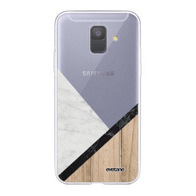 Coque Samsung Galaxy A6 2018 360 intégrale transparente Marbre et Bois Graphique Ecriture Tendance Design Evetane.