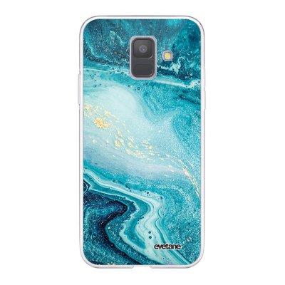 Coque Samsung Galaxy A6 2018 360 intégrale transparente Bleu Nacré Marbre Ecriture Tendance Design Evetane.