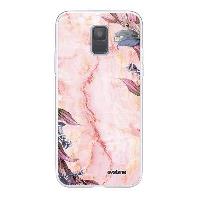 Coque Samsung Galaxy A6 2018 360 intégrale transparente Marbre Fleurs Ecriture Tendance Design Evetane.
