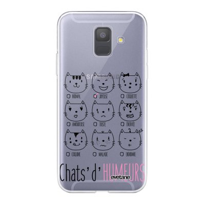 Coque Samsung Galaxy A6 2018 360 intégrale transparente Chats d'humeurs Ecriture Tendance Design Evetane.