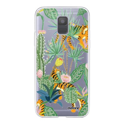 Coque Samsung Galaxy A6 2018 360 intégrale transparente Tigres et Cactus Ecriture Tendance Design Evetane.