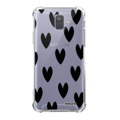 Coque Samsung Galaxy A6 2018 anti-choc souple avec angles renforcés transparente Cœurs Noirs Tendance Evetane...