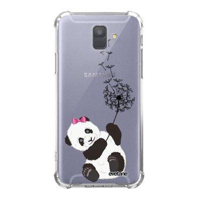 Coque Samsung Galaxy A6 2018 anti-choc souple avec angles renforcés transparente Panda Pissenlit Tendance Evetane...