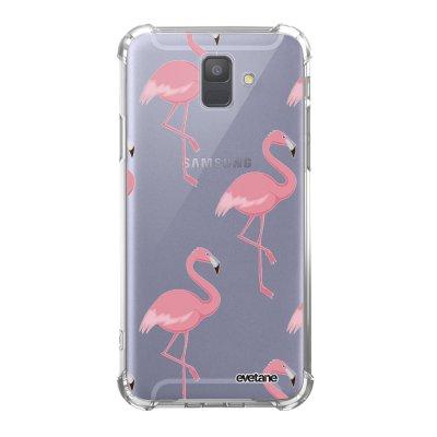Coque Samsung Galaxy A6 2018 anti-choc souple avec angles renforcés transparente Flamant Motif Tendance Evetane...