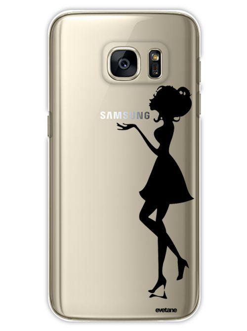 Coque Samsung Galaxy S7 Edge rigide transparente Silhouette Femme Dessin Evetane - Coquediscount