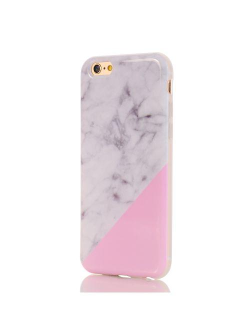 Coque souple motif Marbre Blanc & Rose pour iPhone 6/6S